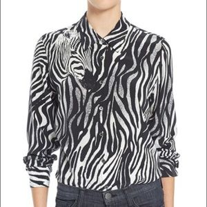 Equipment Zebra Print Silk Blouse XS